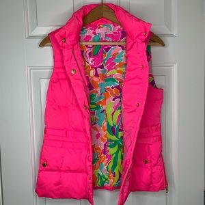 Lilly Pulitzer Pink Floral Kate Puffer Vest Small
